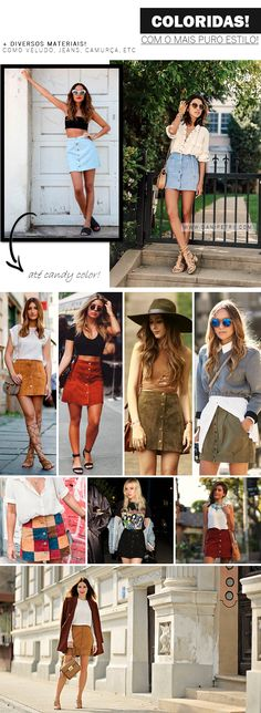 [POST NOVO!] Moodboard: saia de botões | [NEW POST!] is all about the button front skirts