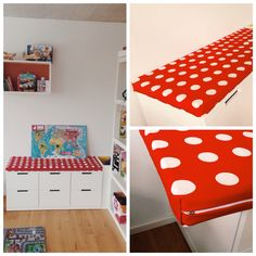 Ikea nordli storage with selfmade cover/cushion - using  vyssa slappna baby mattress & ikea hildis fabric