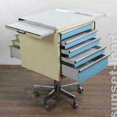 Arzt-Stahl-Moebel-Schubladen-Schrank-Container-Rollen-Baisch-Amigo-Praxis-Loft