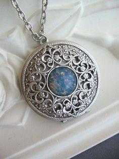 SALE Blue Fire Opal Locket, Filigree Locket, Silver Locket, Antique Locket…