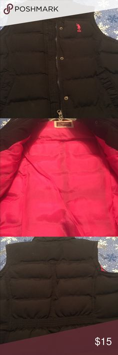 U.S. POLO ASSN. VEST Adorable vest with logo on the front. Pink lining inside with zipper front. Back has quilted design for a more fitted form. Great condition U.S. POLO ASSN. Jackets & Coats Vests