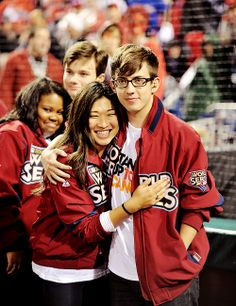 Amber, Chris, Jenna and Kevin attending the World Series where Amber sung the National Anthem.