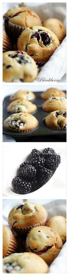 Blackberry Muffins by rasamalaysia: These are so GOOD and moist with the juice from the blackberries come oozing out! Quick and no-fuss recipe, even novice baker can do it. #Muffins #Blackberry