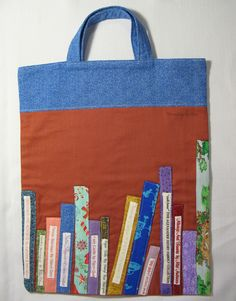 Threading My Way: Library Bag with Book Titles...