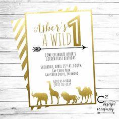 Hey, I found this really awesome Etsy listing at https://www.etsy.com/listing/230187623/wild-one-gold-safari-birthday-invitation