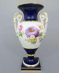 Grosse-Meissen-Amphoren-Vase-kobaltblau-Blumen-Dekor-1-Wahl-H-29-cm