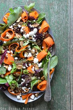French Lentil, Carrot Curl, and Moroccan Mint Sauce Salad inspired by #SteepedBook by Annelies Zijderveld