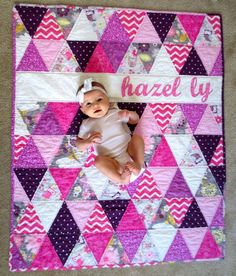 Order a custom triangle quilt like this with your baby's name! Check out this item in my Etsy shop https://www.etsy.com/listing/230381473/personalized-baby-quilt-triangle-baby