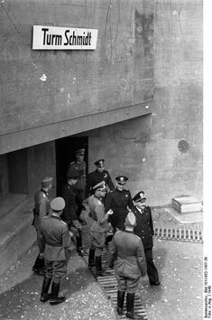 German Colonel General Friedrich Dollmann leading an Italian delegation on a tour of the West Wall defenses, Lorraine, France, 1940