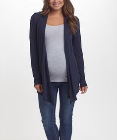 Look at this #zulilyfind! PinkBlush Navy Blue Maternity Cardigan #zulilyfinds