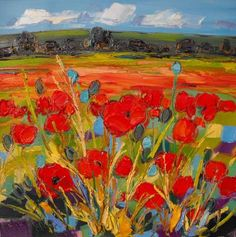 Red Poppies in a Field by Judith I Bridgland