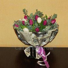 Букет из Тюльпанов в Газете Крафт