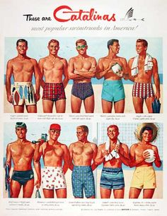 Vintage men's swimsuits and bathing suits from the 1930s, 1940s and 1950s. History and pictures of retro mens swim trunks, shorts, and briefs.