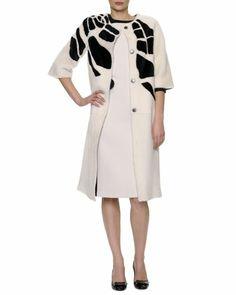 3/4-Sleeve Jewel-Neck Croc-Intarsia Shearling Coat & Sleeveless Colorblock Crepe Dress by Bottega Veneta at Neiman Marcus.