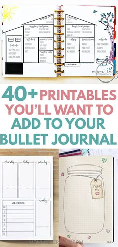 Unique FREE BULLET JOURNAL PDF PRINTABLES. Collection, spreads setup inspiration. Dot grid, daily log, weekly spread, monthly log, habit tracker, mood tracker, gratitude log, mandala coloring page, vision board, goals, vision board