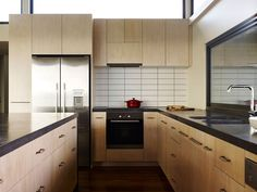 Architecture Design, Kitchen Remodel Design As Wooden Kitchen Cabinet As Silver Cooler As Red Kitchen16: Incredible Home Overlooking the Con...