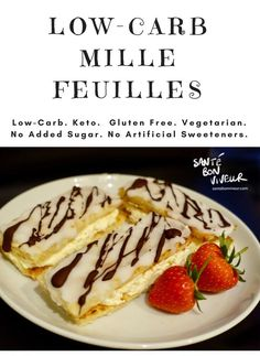 Who doesn't love a delectable French pastry? So I've come up with a Low-Carb Mille Feuille! It uses fat head dough instead of puff pastry. And you can mix it up by using whipped cream or crème anglaise to sandwich it together.