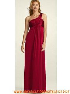 Rotes Schlichtes Abendkleid aus Chiffosatin Einschulter
