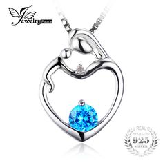 JewelryPalace Heart Mother Child 0.8ct Natural Blue Topas Cubicle Zirconia Accented Pendant 925 Sterling Silver Women Jewelry