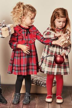 Buy Red Tartan Dress With Tights from the Next UK online shop Toddler Girl Christmas Outfits, Little Girl Christmas Dresses, Little Girl Outfits, Little Girl Fashion, Toddler Outfits, Fashion Kids, Kids Outfits, Christmas Dresses For Kids, Fashion Clothes