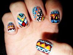 aztec / tribal themed nail art
