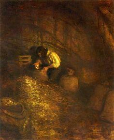 """""""Treasure Cave""""by N.C. Wyeth, 1911"""