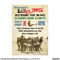 Vintage Retro Bachelor Party Invitations