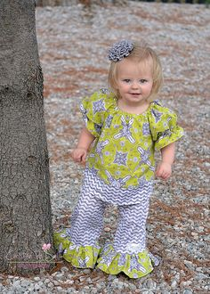 NEW ..Custom Boutique Clothing Cute Lime Green Tunic Top and Ruffle Pant Outfit.. Sizes: 3m-4T baby girl toddler. $48.00, via Etsy.