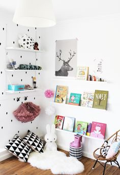 accent wall + reading corner