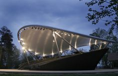 Pyynikki Summer Theatre is a membrane structure that was completed in The project is located in Tampere, Pirkanmaa, Finland, Europe. Theater Architecture, Art Nouveau Architecture, Cities In Finland, Open Air Theater, Examples Of Art, Concert Hall, Drake, Landscape Design, Around The Worlds