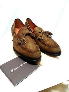 Santoni Mens ITALIAN suede tasseled loafers