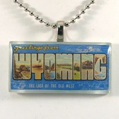 Vintage Large Letter Postcard Pendant  Greetings from by 12be, $14.50