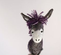 Leonid  Felt Donkey. Art Animal Marionette by TwoSadDonkeys,