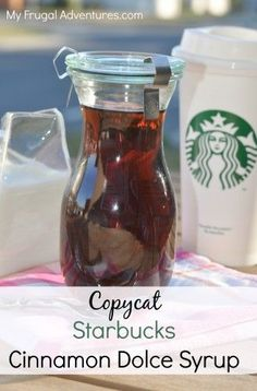 Copycat Starbucks Cinnamon Dolce Syrup Recipe.  So good in coffee or on top of pancakes- just takes 3 ingredients and a few minutes to make!