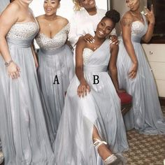 Beading Top One Shoulder Sliver/Light Grey Long Bridesmaid Dresses, WG402