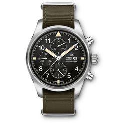 IWC Schaffhausen revisits the first Pilot's Watch Chronograph via Iwc Watches, Cool Watches, Watches For Men, Dream Watches, Iwc Chronograph, Wolf Watch, Diamond Sale, Luxury Watch Brands