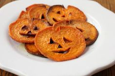 So simple, so fun, and so good for you! Replace chips with these baked yam chips, cut in the shape to look like Jack-O-Lanterns! Coat with a touch of olive oil or melted coconut oil and bake at Sprinkle a bit of cinnamon and sea salt on them to give them a little added flavor.   Bake at 400 for 20-25 minutes