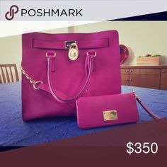 Pink Hamilton Michael Kors Bag and Matching Wallet This is a used product but is in emasculate condition. You wind even be able to tell it was ever used. The saffiano leathers color is a beautifully bright pink and is a rare find because this color is no longer being manufactured. The bag comes with the large matching wallet in the same color and leather, the wallet is also in perfect condition. The metal fixings are in a good color and are untarnished. The lock and key are also operational…