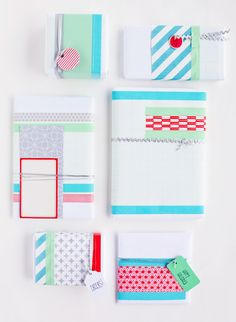 matching colors and crisp lines with washi tape and white butchers paper