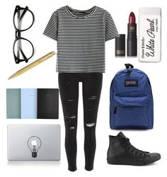 """Back to school #2"" by mari3tta ❤ liked on Polyvore featuring River Island, Lipstick Queen, Converse, Paper Mate, Vinyl Revolution and Caran D'Ache"