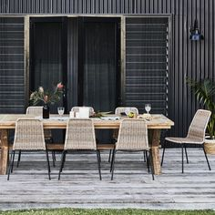 Reclaimed Teak Cross Leg Table 2600x100mm with 8 Cera Dining Chairs Package - Outdoor Dining Sets - Outdoor
