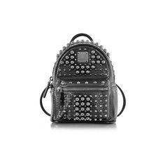 MCM Designer Handbags Black X-Mini Stark Pearl Studs Backpack (33,875 MXN) ❤ liked on Polyvore featuring bags, backpacks, black, handbags, mcm backpack, crossbody tote, tote handbags, mini backpack and zippered tote bag