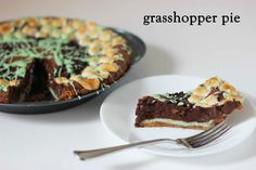 Momofuku's Grasshopper Pie graham cracker crust, mint cheesecake (with a bit of food coloring) and brownie pie.  freeze for 12 hours to prevent gooey pie oozing