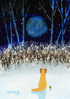 Yellow Lab Dog Folk Art PRINT Todd Young painting FIRST SNOW. $12.50, via Etsy.