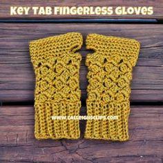 Key Tab Fingerless Gloves ~ Elisabeth Spivey - Calleigh's Clips & Crochet Creations