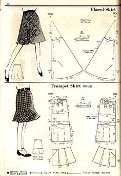 Pictures taken from Pattern Drafting, Kamakura-Shobo Publishing Co. Ltd, 1967 Picture taken from Teenager no. Easy Sewing Patterns, Doll Clothes Patterns, Sewing Clothes, Sewing Tutorials, Clothing Patterns, Vintage Dress Patterns, Blouse Patterns, Vintage Sewing, Skirt Patterns