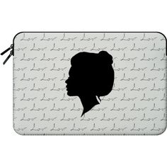 Macbook Sleeve - Beauty Girl Silhouette and Black Love for Macbook ($60) ❤ liked on Polyvore featuring accessories, tech accessories and macbook sleeve