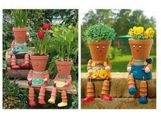 Terra cottage pot people, I need a couple of these on my front steps.  Very cute! Front Yard Landscaping, Diy Clay, Spring Crafts, Clay Cup, Clay Pots, Garden S, Home And Garden, Pottery Pots, Flower Pot People