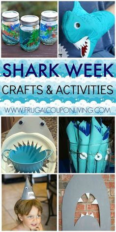 The best DIY projects & DIY ideas and tutorials: sewing, paper craft, DIY. Best Diy Crafts Ideas For Your Home Shark Week Crafts and Activities for Kids on Frugal Coupon Living. Shark Week Ideas for Kids on Frugal Coupon Living. Shark Week Crafts, Shark Craft, Shark Activities, Craft Activities, Shark Games For Kids, Ocean Party, Shark Party, 2nd Birthday Parties, Boy Birthday