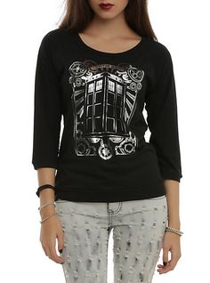 Doctor Who TARDIS Silver Foil Girls Pullover Top | Hot Topic  size 2X